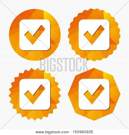 Check mark sign icon. Checkbox button. Triangular low poly buttons with flat icon. Vector