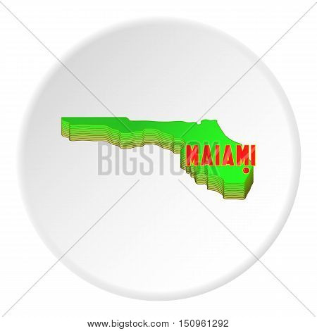 Map of Florida with Miami icon. Cartoon illustration of map of Florida with Miami vector icon for web