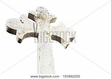 Horizontal Photo in color of White concrete christian cross isolated
