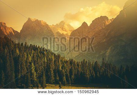 Italian Dolomites Mountain Landscape. Northern Italy Europe. Auronzo Di Cadore.