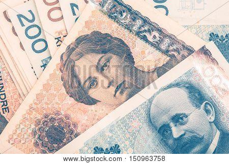 Norwegian Krones Cash Money Closeup Photo. Norway Currency