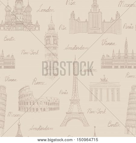 Travel Seamless Pattern. Vacation In Europe Wallpaper. Travel To Visit Famous Places Of Europe Backg