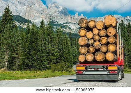 Wood Logs Truck Delivery. Timber Lumber Industry.