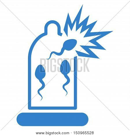 Damaged Condom With Sperm vector icon. Style is flat symbol, cobalt color, rounded angles, white background.