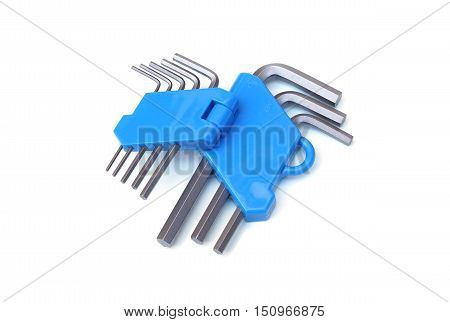 Hex key wrench with holder isolated on white