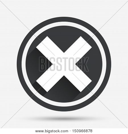Delete sign icon. Remove button. Circle flat button with shadow and border. Vector