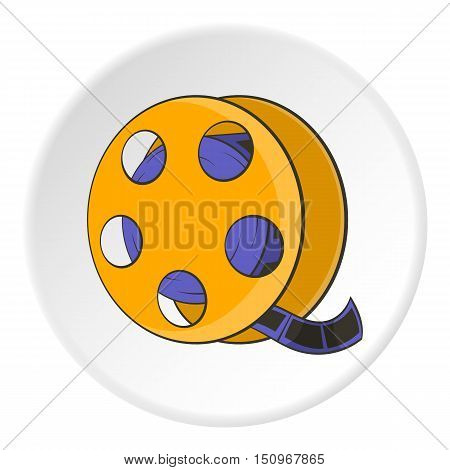 Tape with film icon. Cartoon illustration of tape with film vector icon for web