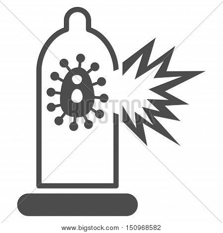Damaged Condom With Virus vector icon. Style is flat symbol, gray color, rounded angles, white background.