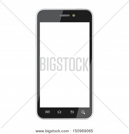 Black smartphone with blank screen front view. Isolated on white background 3d image.