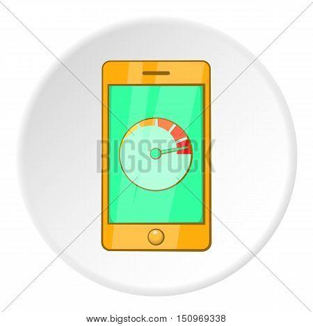 Battery indicator on phone icon. Cartoon illustration of battery indicator on phone vector icon for web