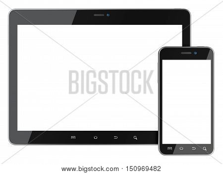 Black smartphone and tablet with blank screen front view. Isolated on white background 3d image.