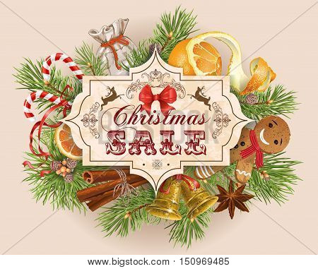 Vector Christmas sale vintage banner with traditional decoration Christmas tree branches and sweets. Design for any kind of products. Best for clothes sweets chocolate cosmetics tea and coffee.