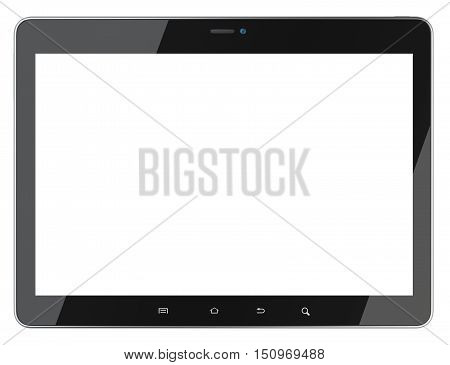 Black tablet with blank screen front view. Isolated on white background 3d image.