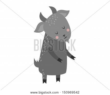 Cartoon goat comic smile nature and zoo mascot cartoon goat. Cartoon gray goat cheerful pet. Cartoon gray goat colorful adorable character. Cute cartoon gray goat mammal farm animal vector.