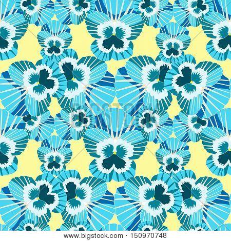 Seamless Pattern Blossoms Blue Violet Pansies. Vector Illustration