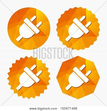 Electric plug sign icon. Power energy symbol. Triangular low poly buttons with flat icon. Vector