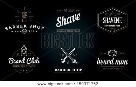 Set Of Vector Barber Shop Elements And Shave Shop Icons Illustration Can Be Used As Logo Or Icon In