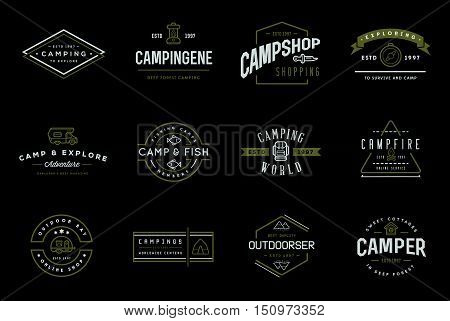 Set Of Vector Camping Camp Elements With Fictitious Names And Outdoor Activity Icons Illustration Ca