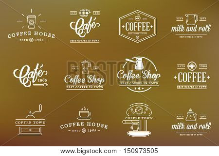 Set Of Vector Coffee Elements And Coffee Accessories Illustration Can Be Used As Logo Or Icon In Pre