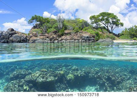 Fisheye over under revealing native vegetation and coral reef underwater at Tampico Beach on Caribbean island of Isla Culebra