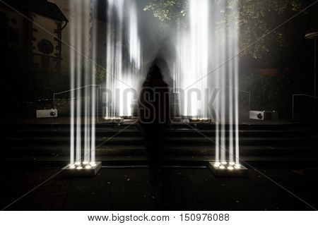 Dark Enigma Scary Mysterious Bright Light Columns Outdoors Creepy Staircase Moving Shadow Silhouette