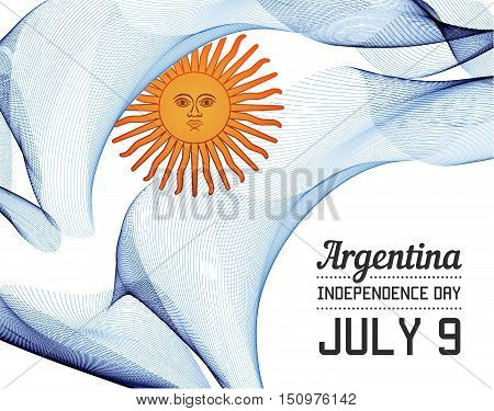 National Day Of Country In Blending Lines Style Vector With Date