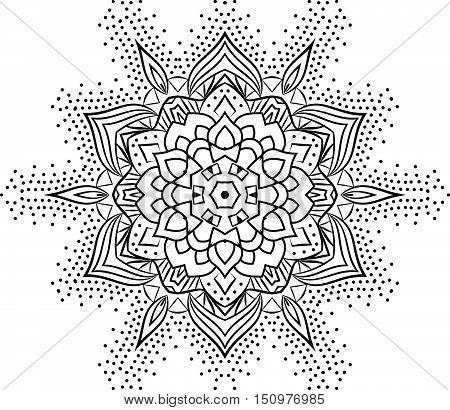 Ethnic Fractal Mandala Vector Meditation Looks Like Snowflake Or Maya Aztec Pattern Or Flower Too Is