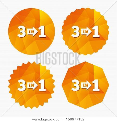 Three in one suite sign icon. 3 in 1 symbol with arrow. Triangular low poly buttons with flat icon. Vector