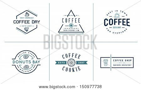 Set Of Vector Coffee Logotype Templates And Coffee Accessories Illustration With Incorporated Icons