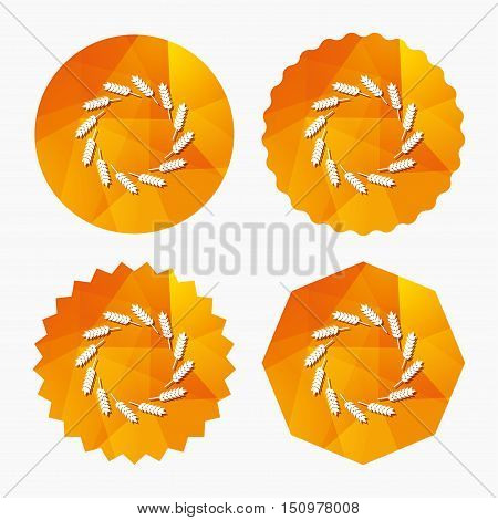 Agricultural sign icon. Wreath of Wheat corn. Gluten free or No gluten symbol. Triangular low poly buttons with flat icon. Vector