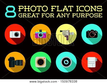 Set Of Vector Photo Camera Photography Elements And Video Camera Icons Illustration Can Be Used As L