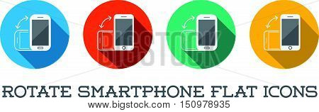 Colorful Rotate Round Flat Smartphone Or Cellular Phone Or Tablet Icons Set In Vector