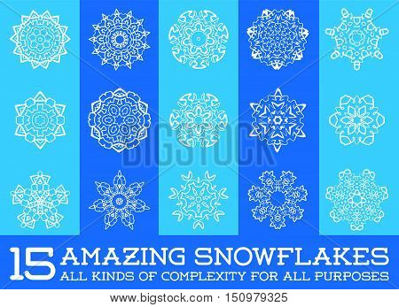 Set Of Snowflakes Fractals Or Mandala Icons Great For Christmas Or Ethnic Use In Vector