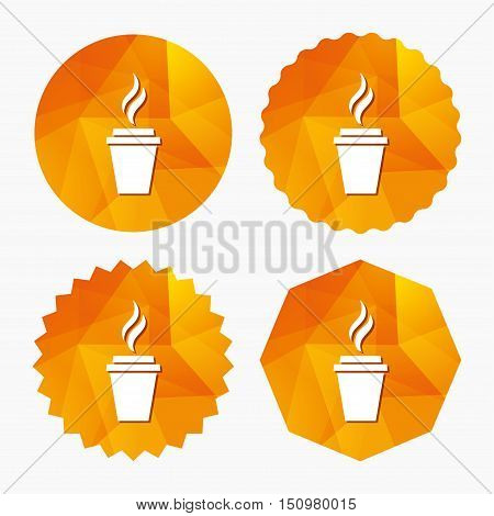 Coffee glass sign icon. Hot coffee button. Hot tea drink with steam. Takeaway. Triangular low poly buttons with flat icon. Vector
