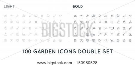 Set Of Thin And Bold Vector Garden And Farm Elements And Fruits Or Vegetables Icons Illustration Can