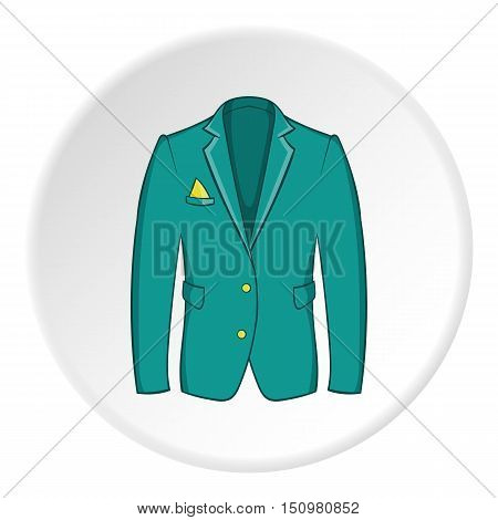 Men green jacket icon. Cartoon illustration of men green jacket vector icon for web