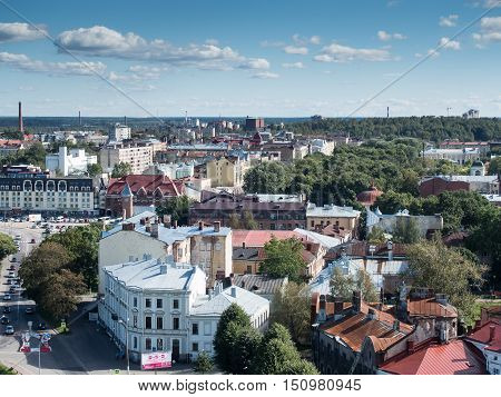 Vyborg Russia September 3 2016: panorama of Vyborg from the lookout tower in Vyborg Russia
