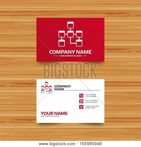 Business card template. Database sign icon. Relational database schema symbol. Phone, globe and pointer icons. Visiting card design. Vector