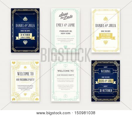 Set Of Great Quality Style Invitation In Art Deco Or Nouveau Epoch 1920's Gangster Era Collection Ve