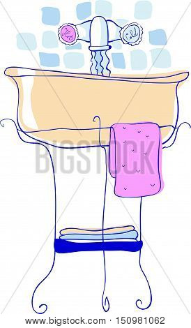 Washbasin In Vector Hand Drawn Illustration Icon