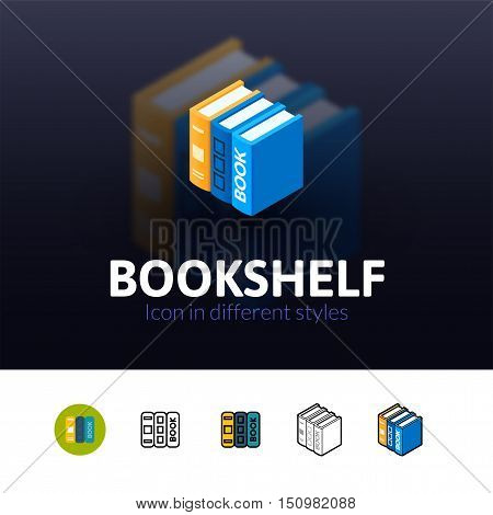 Bookshelf color icon, vector symbol in flat, outline and isometric style isolated on blur background