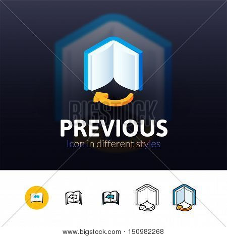 Previous color icon, vector symbol in flat, outline and isometric style isolated on blur background