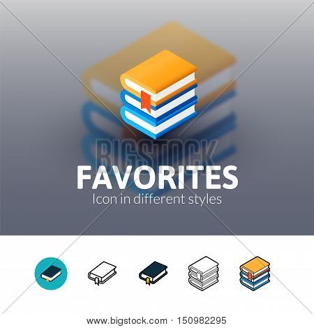 Favorites color icon, vector symbol in flat, outline and isometric style isolated on blur background