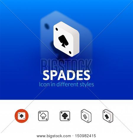 Spades color icon, vector symbol in flat, outline and isometric style isolated on blur background