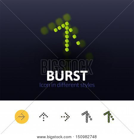 Burst color icon, vector symbol in flat, outline and isometric style isolated on blur background