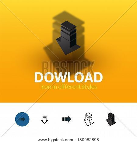 Download color icon, vector symbol in flat, outline and isometric style isolated on blur background