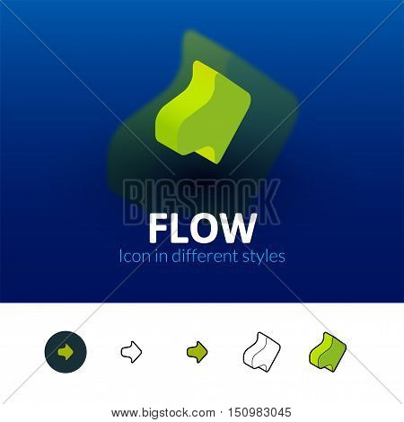 Flow color icon, vector symbol in flat, outline and isometric style isolated on blur background