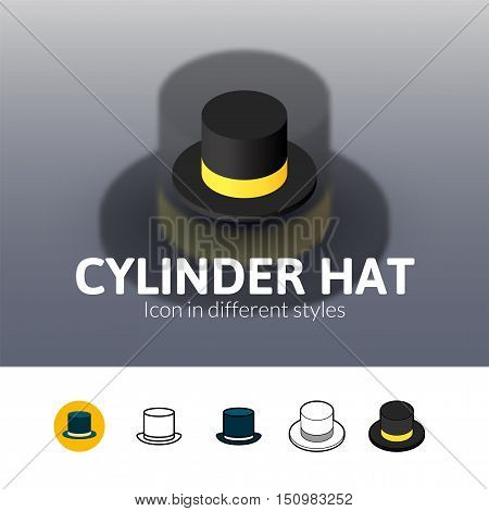 Cylinder hat color icon, vector symbol in flat, outline and isometric style isolated on blur background