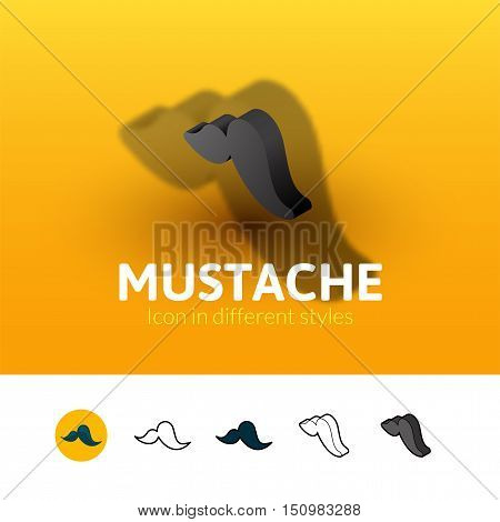 Mustache color icon, vector symbol in flat, outline and isometric style isolated on blur background