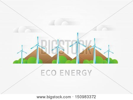 Air turbine landscape vector illustration. Wind turbine windmill supply creative concept. Eco energy graphic design with renewable power electricity sources wind turbine air generator.